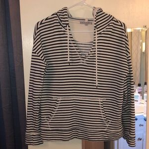 Navy and Ivory Striped Hoodie!